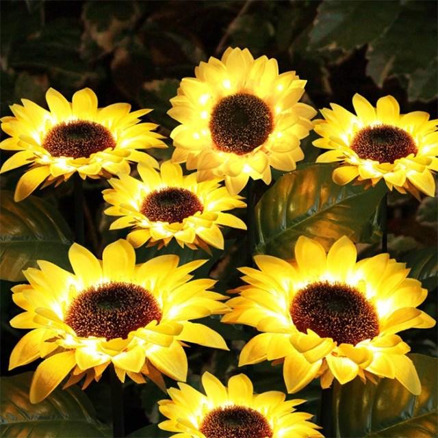 solar powered sunflower lights faux flower