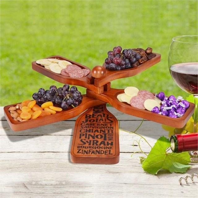 wine bottle-shaped appetizer plate mahogany wood