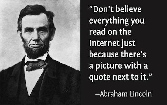 Abraham Lincoln Internet lie