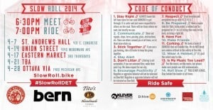 April 2014 Slow Roll Schedule and Code of Conduct. Courtesy of Detroit Bike City.