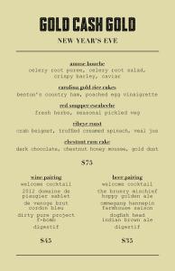 Gold Cash Gold's fancy NYE menu. (Image courtesy of Gold Cash Gold.)