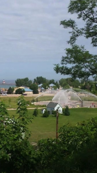 View of the lakefront park with water cannons!