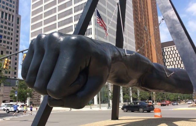 """The Fist"", a sculptural tribute to Joe Louis, in downtown Detroit. Photo courtesy of Daily Detroit."