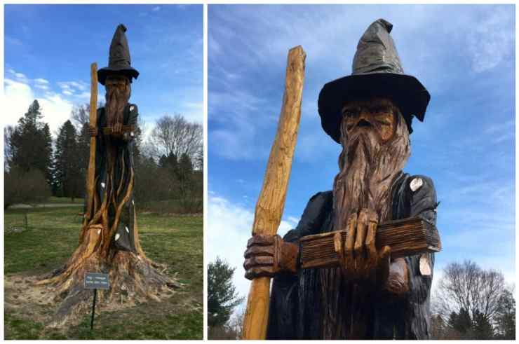 A huge tree trunk turned wizard watches over the Fantasy Forest. Photos by Rhonda and Adam Greene.