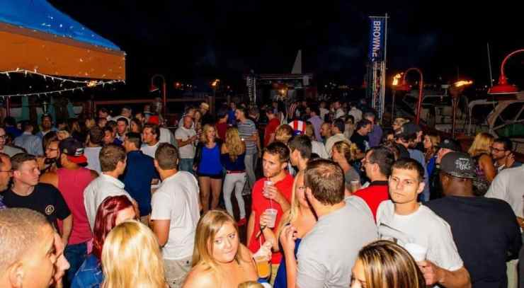 Life's a party at the beach! Enjoy great food and views during the day and a hopping night life at Brownie's on the Lake. Photo courtesy of Detroit Metro Times