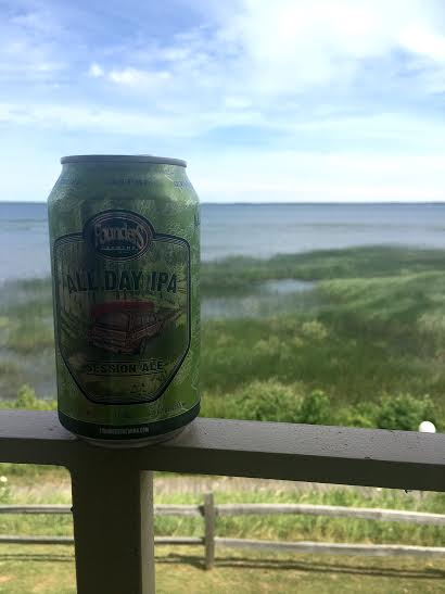 Founder's All Day IPA on the balcony of the Terrace Bay Inn