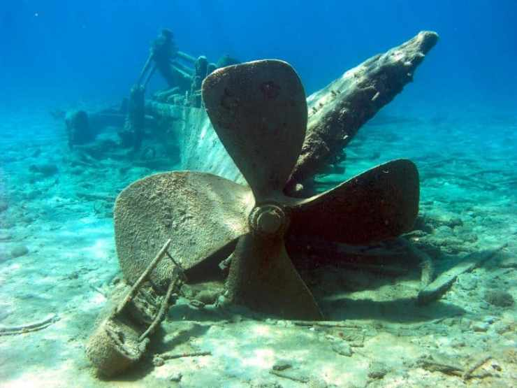 sunken ship's propeller