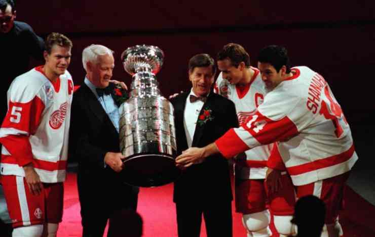 Gordie Howe and Ted Lindsay with 1997 Stanley Cup Champions Nicklas Lidstrom, Steve Yzerman, and Brendan Shanahan