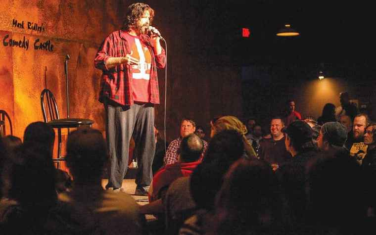 Mick Foley at Mark Ridley's Comedy Castle. Photo courtesy of C&G Publishing
