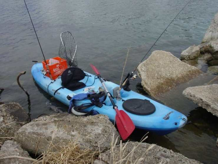 Kayak rigged and ready to launch for a day of fishing. Photo courtesy of Lake Michigan Angler