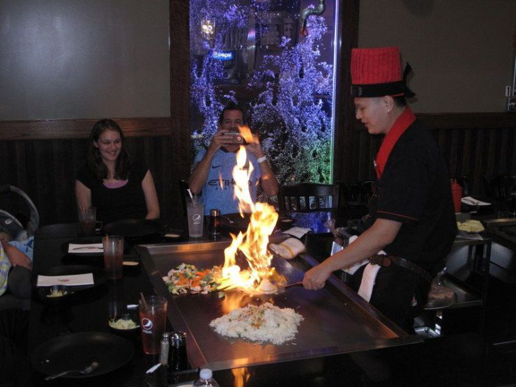 The onion volcano is a big hit at Fuji Sushi & Steakhouse. Photo courtesy of Mark Urban at Traverse City Record Eagle - The Awesome Mitten