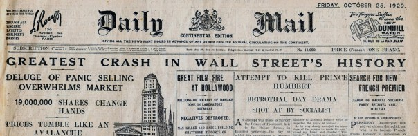 "Image result for 1929 – ""Black Thursday"" stock market crash on the New York Stock Exchange."