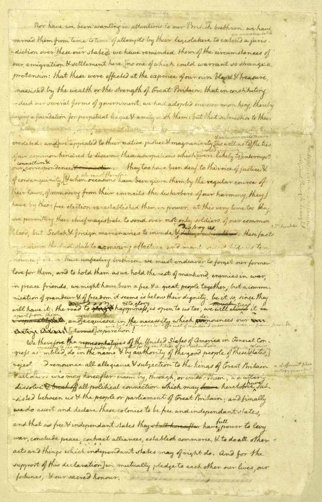 Ben Franklin Notations On The Declaration Draft