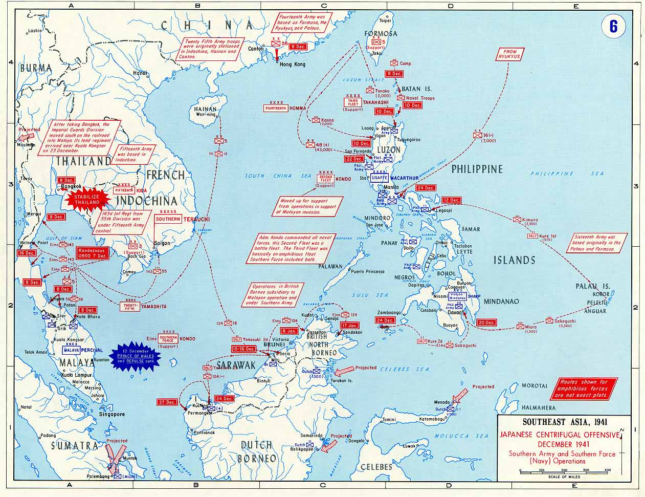 Map Showing Japanese Offensive December