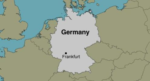 Frankfurt Germany   Location Map Image of a map of Germany  depicting the location of Frankfurt