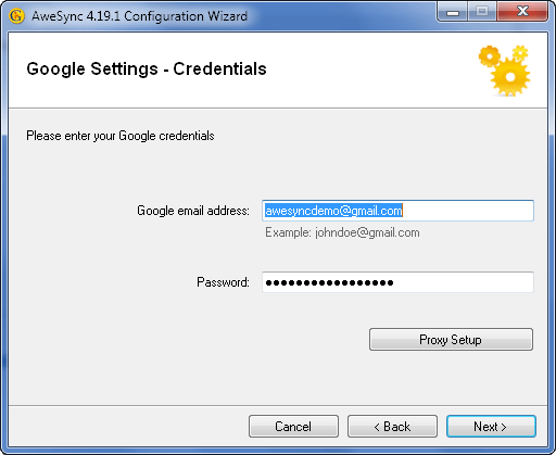 AweSync - Configuration Wizard - Google Credentials