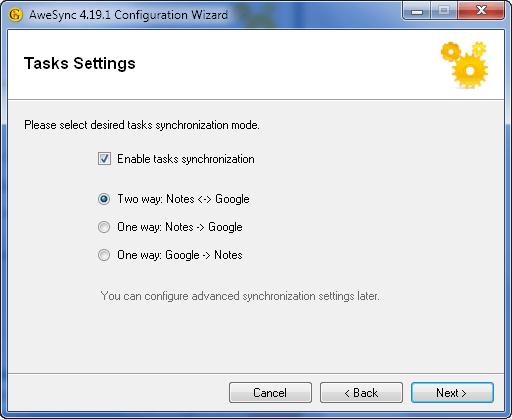 AweSync - Configuration Wizard - Tasks