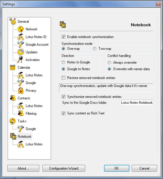 AweSync - Notebook Synchronization Settings