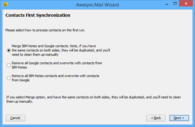 AweSync.Mail - Wizard