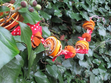 fruit garland using dried fruit for christmas decorations