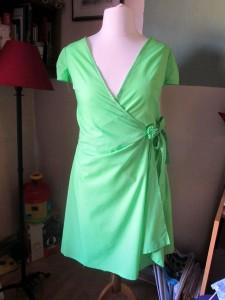 spring green wrap dress