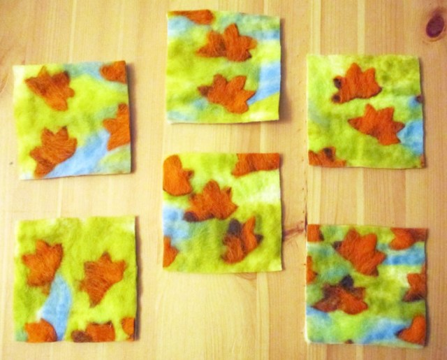 autumn felted coasters