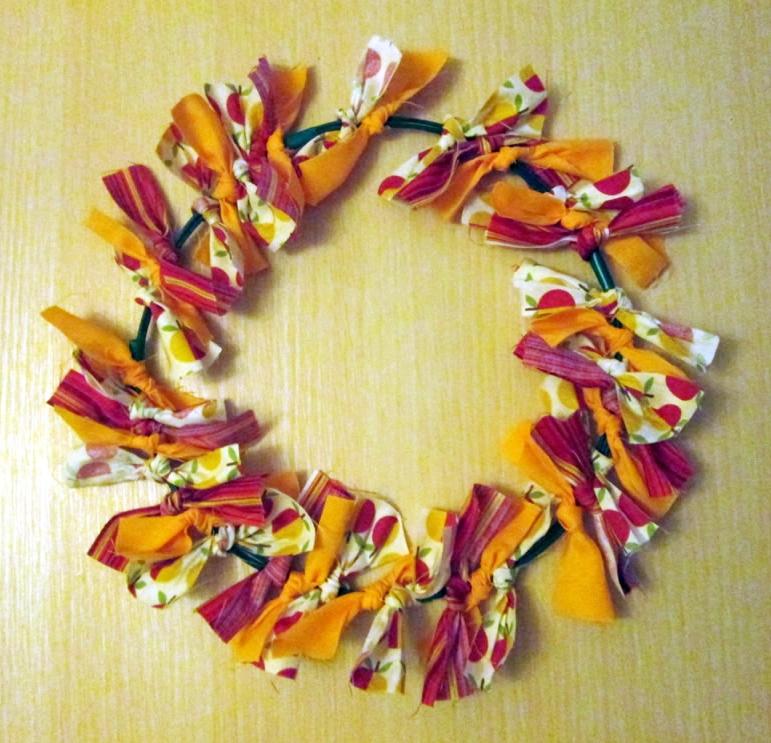 autumn tied wreath no sew