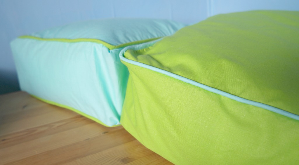 how to turn a pillow into a box cushion with piping