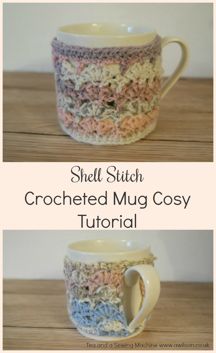 shell stitch crocheted mug cosy tutorial