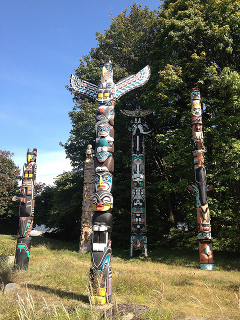 Totem Poles At Brockton Point BC