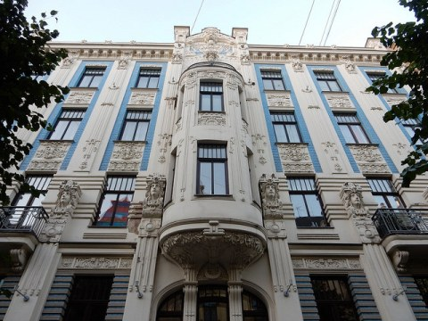 Art nouveau architecture in Albert Street in Riga, Latvia
