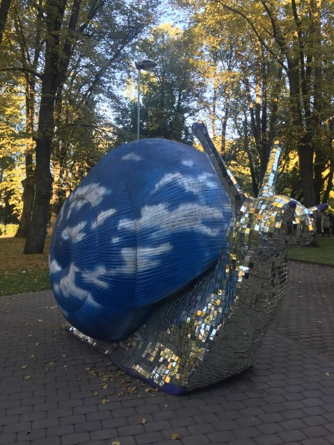 Giant blue snail statue in Riga, Latvia
