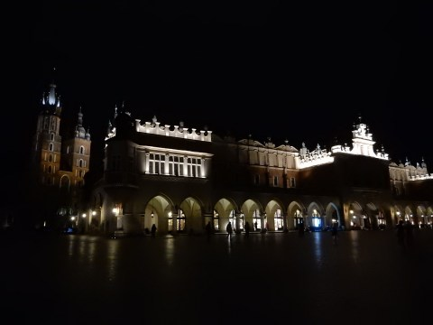 Cloth Hall with St. Mary's Basilica. Old Town in Krakow, Poland. Rynek Główny