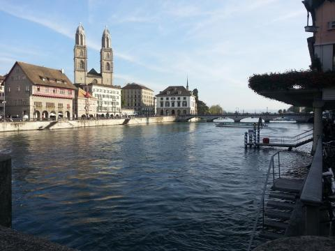 Limmat River with Grossmünster in the background