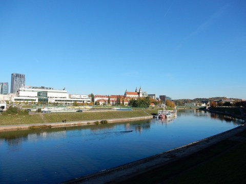 Neris River in Vilnius, Lithuania. Church of St. Michael the Archangel.