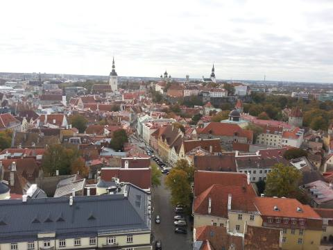 View of Tallinn from the top of St. Olaf's. Tallinn, Estonia