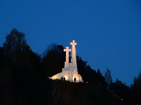 The Hill of the Three Crosses in Vilnius Lithuania. Seen from Gediminas' Tower