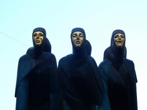 Three Muses sculpture in Vilnius, Lithuania. Lithuanian National Drama School.