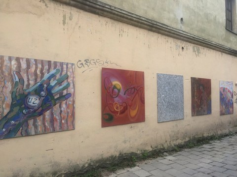 Artwork in Uzupis in Vilnius, Lithuania