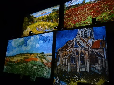 Van Gogh Alive exhibition in Wroclaw, Poland. Landscapes