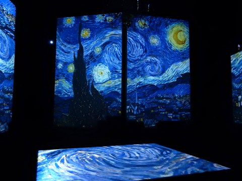Van Gogh Alive exhibition in Wroclaw, Poland. Starry night