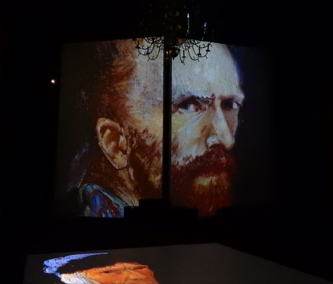 Van Gogh Alive exhibition in Wroclaw, Poland. Self-portrait