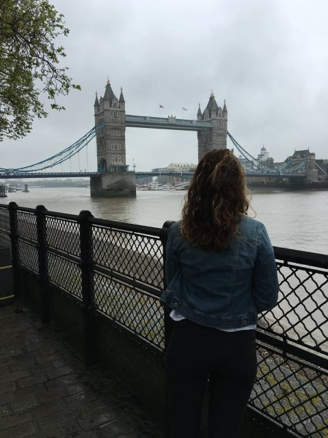Enjoying the view of London Tower, England, UK