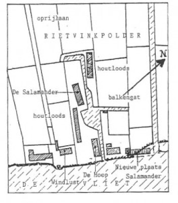 Afb. 2. Plattegrond van de oude en nieuwe standplaats van molen De Salamander