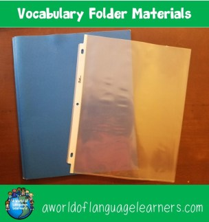 Vocabulary Folder Materials