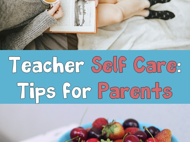 teacher self care- book and fruit