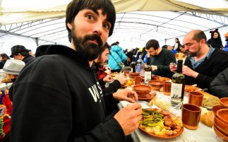Jose tasting Androlla, the main dish at Festa da Androlla in Viana do Bolo, Ourense