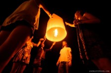 There is also room for flying lanterns at night in Koh Tao, Thailand.