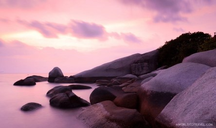 A classic long exposure shot at sunset in Koh Tao. It might have been edited a bit but those unreal colors were there!