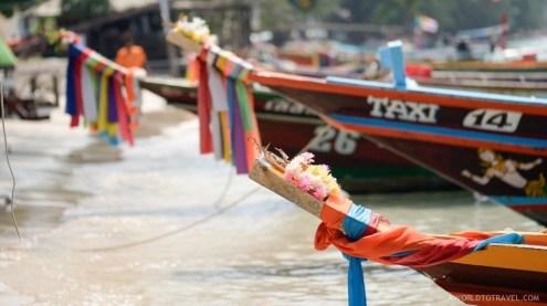 Traditional boats ashore Koh Tao main beach.